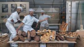 Funny French bakers trying to convince to buy bread