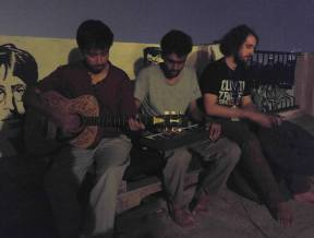 Sanam and Binod jamming at the roof deck with Chris