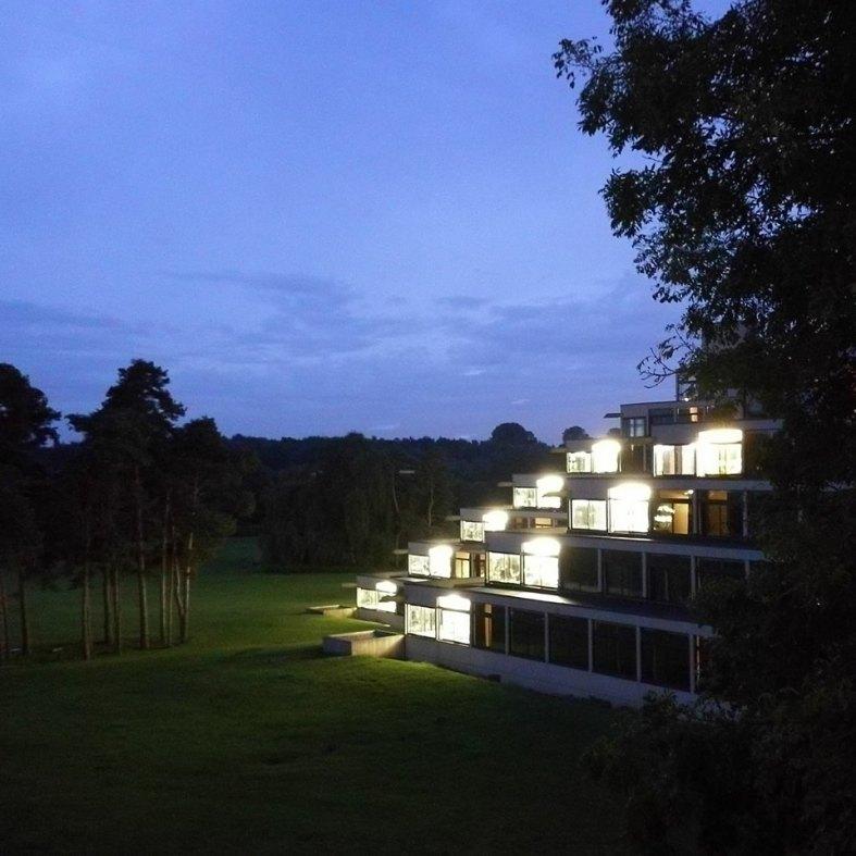 The UEA Ziggurats at night